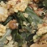 Pilaf van quinoa met snijbiet en paddestoelen