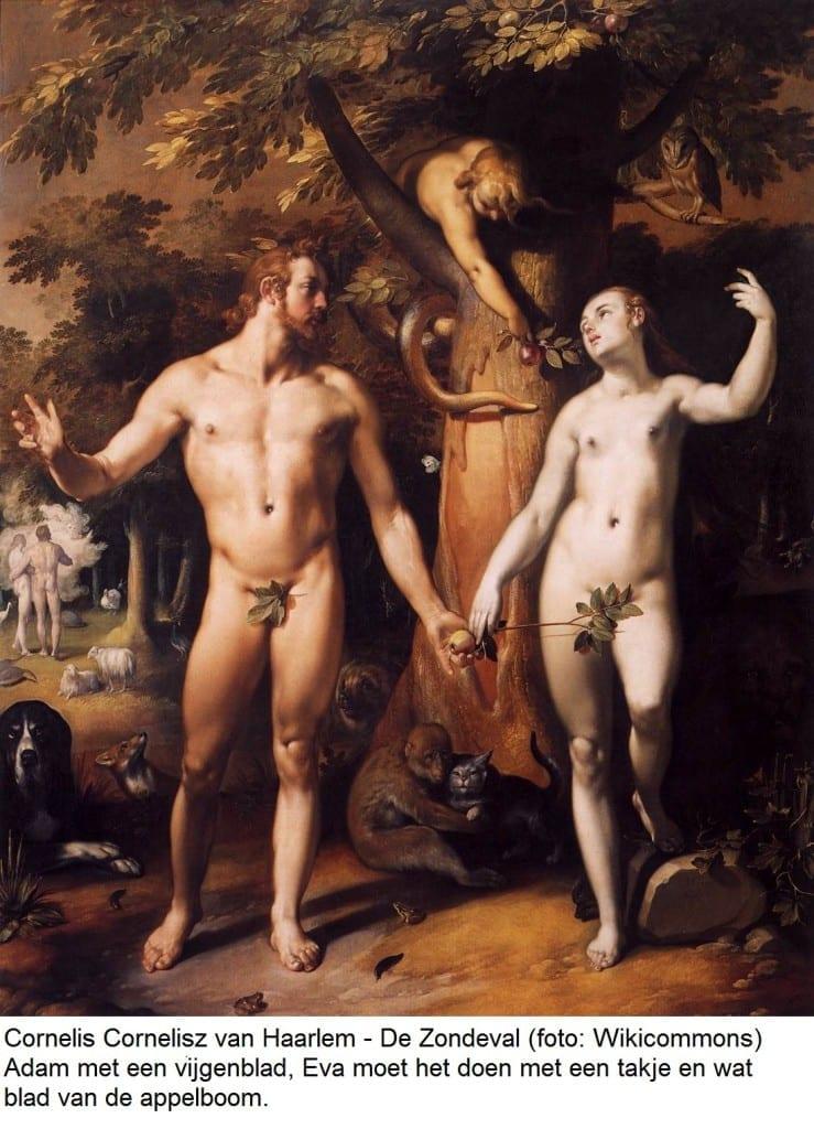 Cornelis Cornelisz van Haarlem - De Zondeval Wikicommons - met tekst