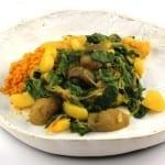 Spinazie-aardappel-paddenstoelcurry