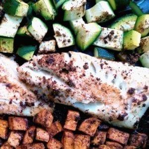 Ovenschaal bataat, courgette, zapallo en witte vis
