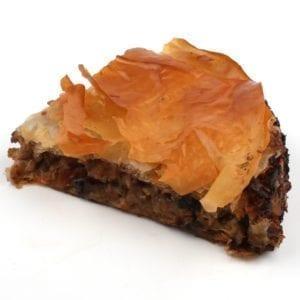 Aubergine-walnoot taart