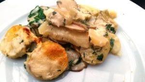 Aardappel-artisjok-aardpeergratin - bord