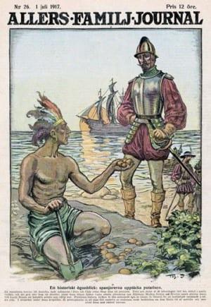 Inca overhandigt aardappel aan Spaan