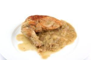 In rabarber gestoofde kip - van boven