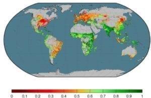 Dit plaatje toont de effectiviteit (voedingswaarde voor de mens) van de landbouw in de wereld.