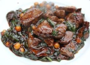 Geroerbakte varkenslever met spinazie 3