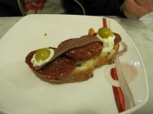 Uit eten in Spanje - Donostia - pintxo 1