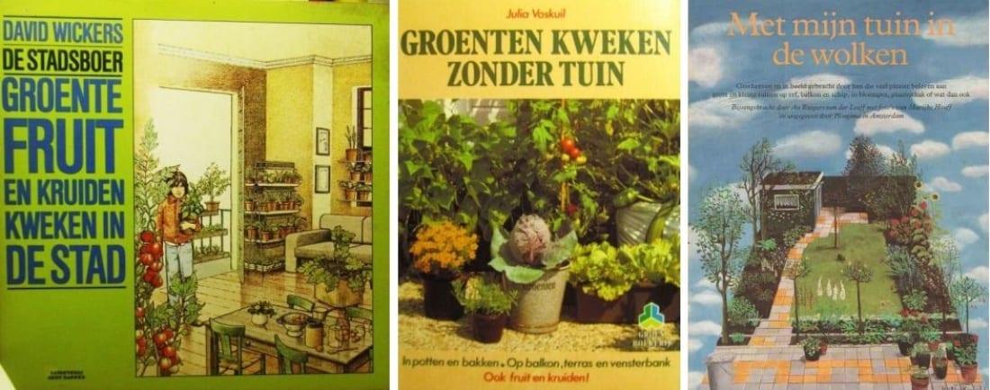 Stadslandbouw - 3 oude boeken op een rij