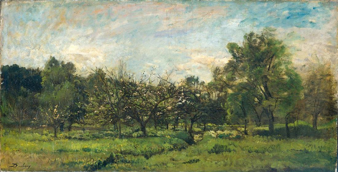 Dit is geen voedselbos. Boomgaard,  schilderij van  Charles François Daubigny, 1869